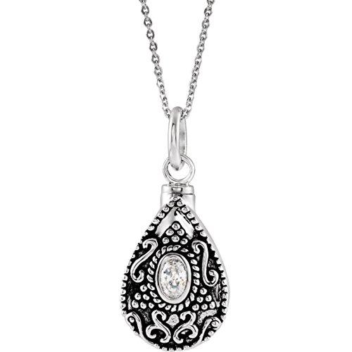Bonyak Jewelry Sterling Silver April Birthstone Tear Ash Holder 18