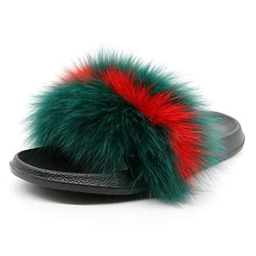 Sea Red Raccoon - FAY WATERS Women's Plush Fox Hair Slippers Cute Winter Warm Fluffy Fur Slides