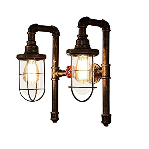 JINGUO Lighting Industrial Wall Sconce Water Pipe Double