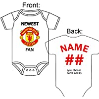 Personalized Custom Made Newest Manchester United Fan Football Soccer Gerber Onesie Jersey - Baby Announcement Reveal or Shower Gift