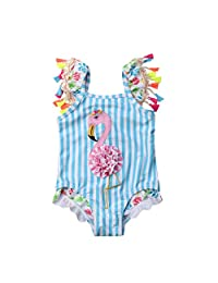 Lzxuan Toddler Baby Kid Girls Swimwear Tassel Striped Flame Bird Swimsuit Beach Wear Bathing Suit Blue