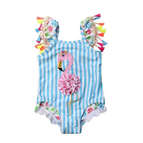 Toddler Baby Kid Girls Swimwear Tassel Striped Flame Bird Swimsuit Beach Wear Bathing Suit Blue -