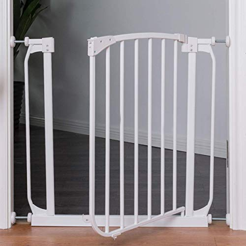 "PETSJOY Baby Safety Gate, Pet Gate, Easy Step Walk Thru Gate for Pets or Baby, Easy to Set Up, Safety Locking, Width Adjustable, Fits Spaces Between 28.5"" to 33"" Wide"