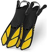 Greatever Snorkel Fins Adjustable Buckles Open Heel Swim Flippers Travel Size Short Swim Fins for Snorkeling D