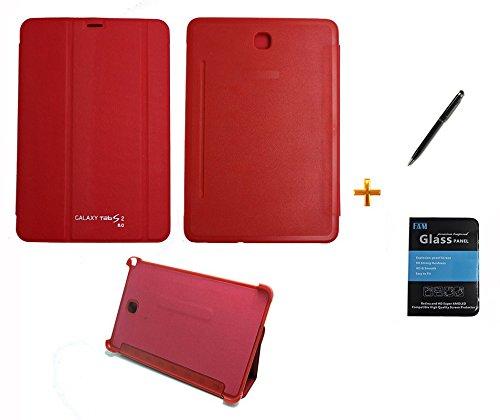 Kit Capa Smart Book Case Galaxy Tab S2-8.0´ T710/715/Caneta Touch + Película de Vidro (Vermelho)