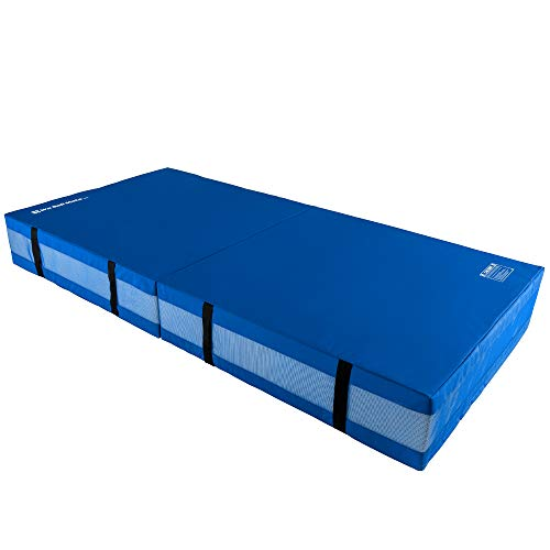 We Sell Mats 12 Inch Thick BiFolding Gymnastics Crash Landing Mat Pad, Safety for Tumbling, Back Handspring Training and Cheerleading, 4 ft x 8 ft, Blue