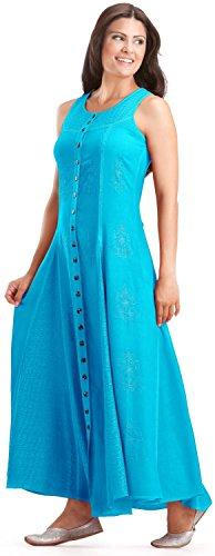 [HolyClothing Fiona Full Skirt Boho Faerie Renaissance Maxi Sun Dress - 2X-Large - Aqua Blue] (Renaissance Style Dress)