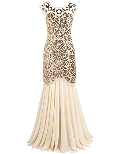 [PrettyGuide Women 's 1920s Sequin Gatsby Flapper Formal Evening Prom Dress M Gold beige] (1920 Dress)