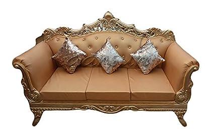 Stupendous Aarsun Woods Designer Golden Polish Royal Sofa Set Teak Wood Customarchery Wood Chair Design Ideas Customarcherynet
