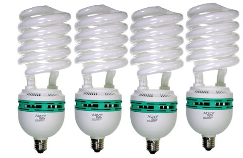 Spectrum Fluorescent Lights - ALZO 85W Joyous Light Full Spectrum CFL Light Bulb 5500K, 4250 Lumens, 120V, Pack of 4, Daylight White Light