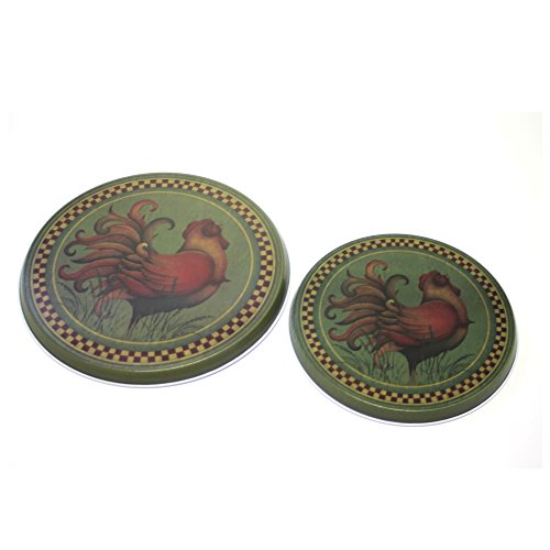 Range Kleen 5060 Angela Anderson's Rooster Design Burner Kovers, Set of 4