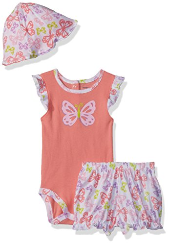 Gerber Baby Girls Bodysuit, Short and Tulip Hat, Butterfly, 0-3 (Butterfly Short Sleeve Shorts)