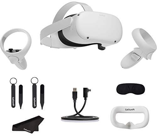 Oculus Quest 2 All-in-One VR Headset 256GB - Auriculares para juegos de realidad virtual avanzada con cable GalliumPi Link + Cubierta de interfaz + Correa para nudillos + Cubierta de lente + Paquete de accesorios de paño de limpieza