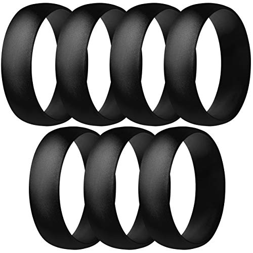 ThunderFit Silicone Rings, 7 Rings / 1 Ring Wedding Bands for Men & Women 6mm Wide (7 Black Rings, 8.5-9 (18.9mm))