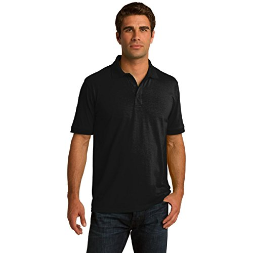 Clothe Co. Mens Big & Tall Short Sleeve Jersey Knit Polo Shirt, XLT, Jet Black