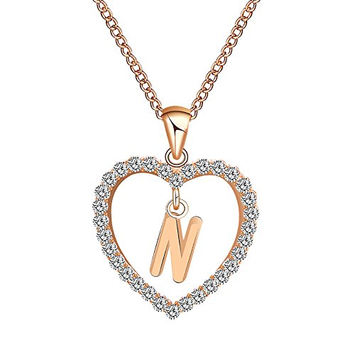 Gbell Fashion Girls Women A-Z Letters Necklaces Charms,26 English Alphabet Name Chain Pendant Necklaces Jewelry Birthday Gifts, Ideal for Party Costume,Wedding,Engagement (N)