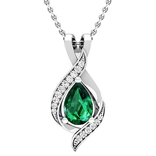 Round Created Emerald Pendant - 14K White Gold Pear 9X6 MM Lab Created Emerald & Round Diamond Ladies Pendant