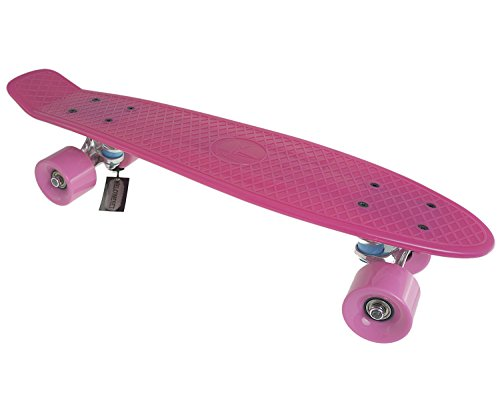 "Blank Vinyl Plastic Cruiser Skateboard Complete W Penny Shrink Stereo-Sonic Tail Pink/Pink 22"""