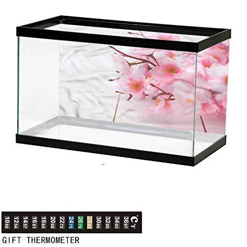 bybyhome Fish Tank Backdrop Floral,Cherry Blossom Petals,Aquarium Background,48