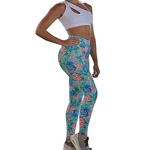 Landscap Ladies Digital Printed Jacquard Hip-High Waist Exercise Running Yoga Pants(Green,L)