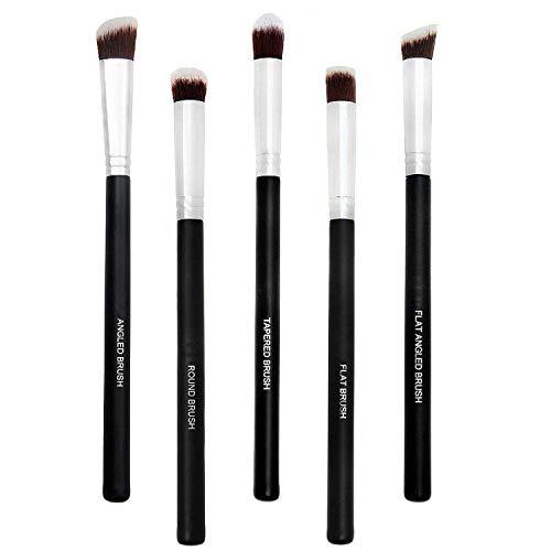 Spanking Eyeshadow Kabuki Makeup Small Eye Shadow Brushes Set (Black) -5 Pieces