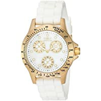 Invicta Women's 'Speedway' Quartz Stainless Steel and Silicone Dress Watch, Color:White (Model: 21985)