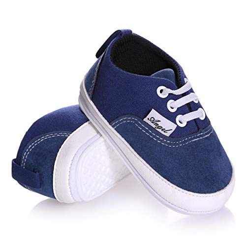 (NOVCO Unisex Baby Sneakers Toddler Boys Girls Anti-Slip First Walkers Canvas Shoes 0-18Months)
