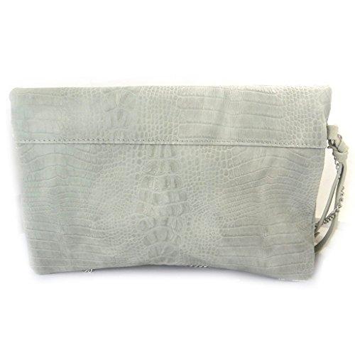 Diseñador de la bolsa 'Lulu Castagnette'gris perla de cocodrilo - 28.5x17x2.5 cm.