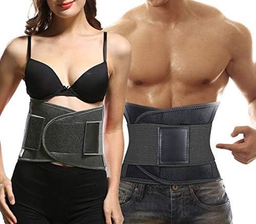 whamz Upgraded Version Sweat Belt Waist Trainer for Women Men – Elastic Waist Ab Cincher Trainer Trimmer, Neoprene Hourglass Slimming Body Shaper,Compression Band Workout,Adjustable Back Support