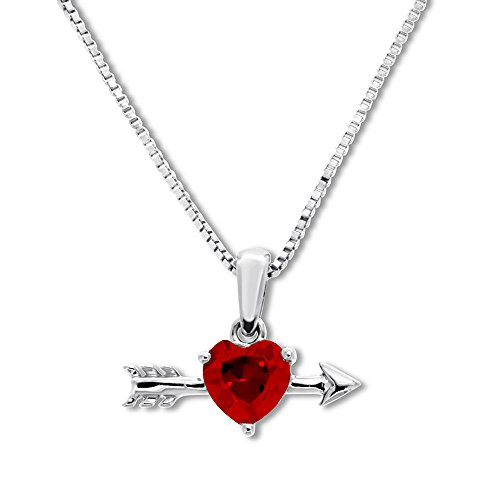 Valentine's Day Love Gift Heart-Shaped Lab-Created Ruby Arrow Necklace 14K White Gold Plated