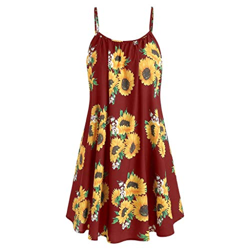 HAPPYSTORE Women Dresses Summer Bohemian Floral Sunflower Spaghetti Strap Tank Sexy African Mini Dress Wine -