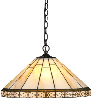 Chloe Lighting CH31315MI18-DH2 Belle Tiffany-Style Mission 2-Light Ceiling Pendant
