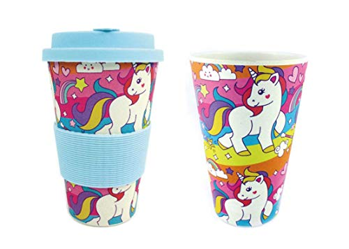 (TINYMILLS Eco-Friendly Reusable Plant Fiber Travel Mug with Unicorn Design )