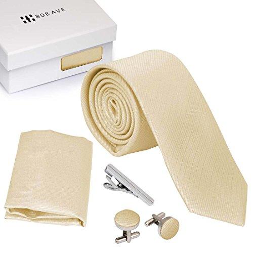 Bundle Monster Mens Skinny Tie Necktie 4pc Set Accessory for Weddings - Cream Accessories
