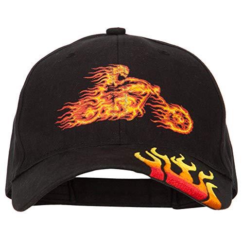 e4Hats.com Flame Biker Heat Transfers Printed Brushed Cotton Embroidered Flame Logo Cap - Black OSFM