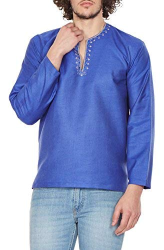 70af01dd96 ShalinIndia Traditional Indian Outfit Loose Fit Airy Comfortable  Embroidered Kurta Shirt for Men 46 Inches Blue  Amazon.in  Clothing    Accessories