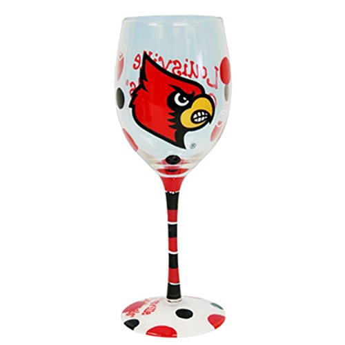 Louisville Cardinals Red and Black Hand Painted Wine Glass