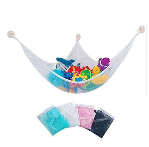 Jitejoe -2PACK Organize Stuffed Animals or Children's Toys with This Mesh Hammock. Looks Great with Any Décor While Neatly Organizing Kid's Toys and Stuffed Animals Hammock. Expands to 5 Feet (Pink) (Toy Hammock Black)