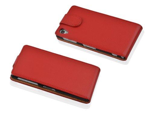 Cadorabo - Funda Flip Style para Sony Xperia Z1 COMPACT (L39H) de Cuero Sintético - Etui Case Cover Carcasa Caja Protección en MARRÓN-COGNAC ROJO-INFIERNO