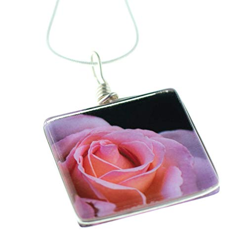 Murano Rose Pendant - Flower Pendant Necklace, Pink Rose on Glass, 18