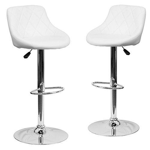 Belleze Set (2) Modern Adjustable Bar Stool Bucket Seat Swivel Footrest, White For Sale