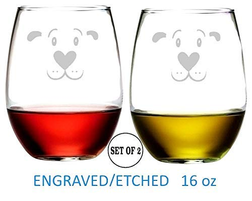 Dog Face Stemless Wine Glasses Etched Engraved Perfect Fun Handmade Gifts for Everyone Set of 2
