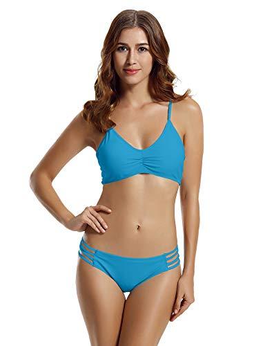 zeraca Women's Strap Side Bottom Halter Racerback Bikini Bathing Suits (FBA) (Large / 14, Hawaiian Ocean) -