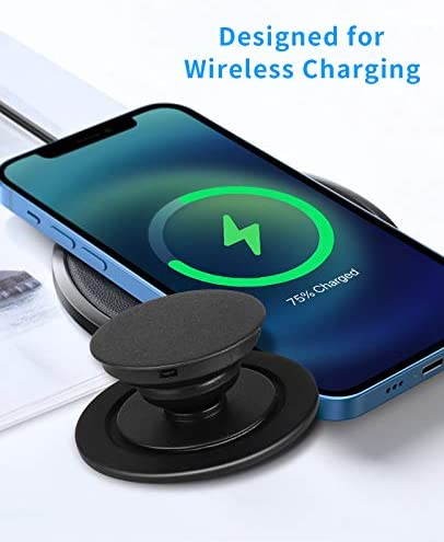 enGMOLPHY Compatible with iPhone 12 MagSafe Magnetic Sucker, Essential Accessory Designed for Users of P-Socket, Phone Ring Stand, [Wireless Charging Achievable]- Black