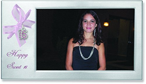 Cathedral Art RF115 Satin Silver Sweet 16 Frame with Pink Ribbon, 8 by ()