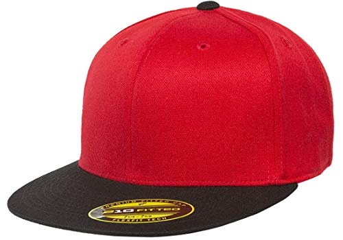 Hat Wool Red Large Brim (Flexfit Premium 210 Fitted Ballcap | Flat Brim, Wool Blend, Baseball Cap w/Hat Liner (Large/X-Large) Red/Black)