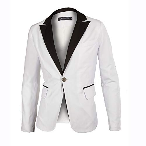 Minghe Men's White Groom Tuxedos Black Shawl Lapel Slim Fit Tailored Suit for Wedding Party ()