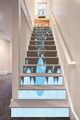 anselc05ls Whale 3D Stair Riser Stickers Removable Wall Murals Stickers,Baloon Like Whale in The Ocean with Bubbles Cartoon Batik Tribal Style Image,for Home Decor 39.3