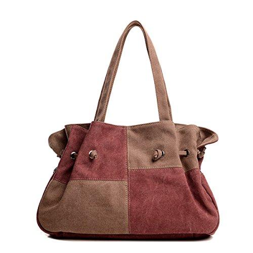 Frauen Jahrgang Leinwand Schulter Ipad Messenger Handtasche Arbeiten Freizeit Tasche ,Red-39cm*9cm*26cm