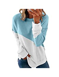 OCEAN-STORE Woman's Long Sleeve T-Shirt Casual Sweatshirt Stitching Contrast Color Pullover